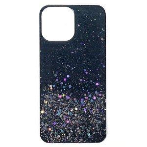 iPhone 13 Pro Glitter Bagside Cover - Sort