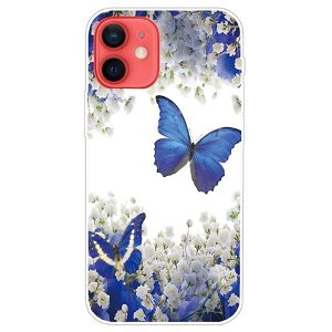 iPhone 13 Mini Fleksibel Gennemsigtig Plastik Bagside Cover - Blå Sommerfugle