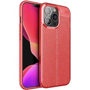 iPhone 13 Pro Fleksibelt Plastik Bagside Cover Litchi Tekstur - Rød