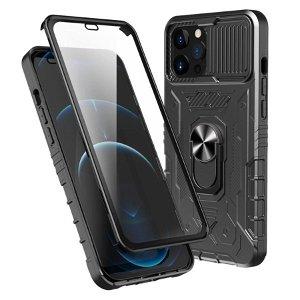 iPhone 13 Pro Max Håndværker Bagside Cover + Hærdet Glas Skærmbeskyttelse - Sort