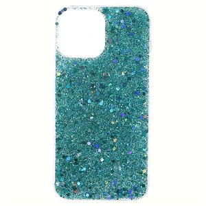 iPhone 13 Pro Glitter Bagside Cover - Turkis