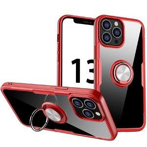 iPhone 13 Pro Max Håndværker Bagside Cover m. Magnetisk Kickstand - Gennemsigtig / Rød