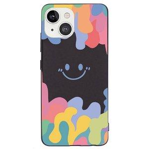 iPhone 13 Fleksibelt Silikone Bagside Cover - Farverig Smiley - Sort
