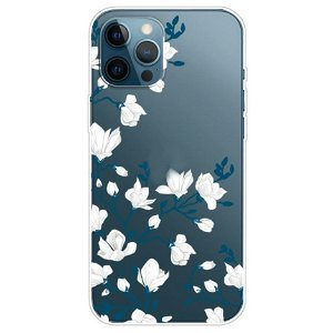 iPhone 13 Pro Max Fleksibel Plastik Cover - Hvide Blomster