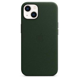 Original Apple iPhone 13 Læder MagSafe Bagside Cover Sequoiagrøn (MM173ZM/A)