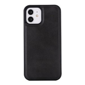 iPhone 12 Mini Læderbetrukket Plastik Cover - MagSafe Kompatibel - Brun