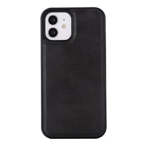 iPhone 12 Pro Max Læderbetrukket Plastik Cover - MagSafe Kompatibel - Sort