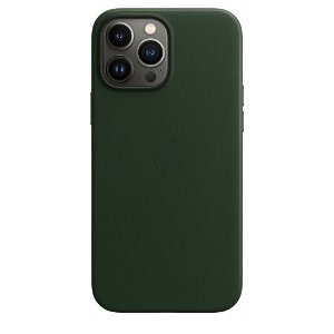 Original Apple iPhone 13 Pro Max Læder MagSafe Bagside Cover Sequoiagrøn (MM1Q3ZM/A)
